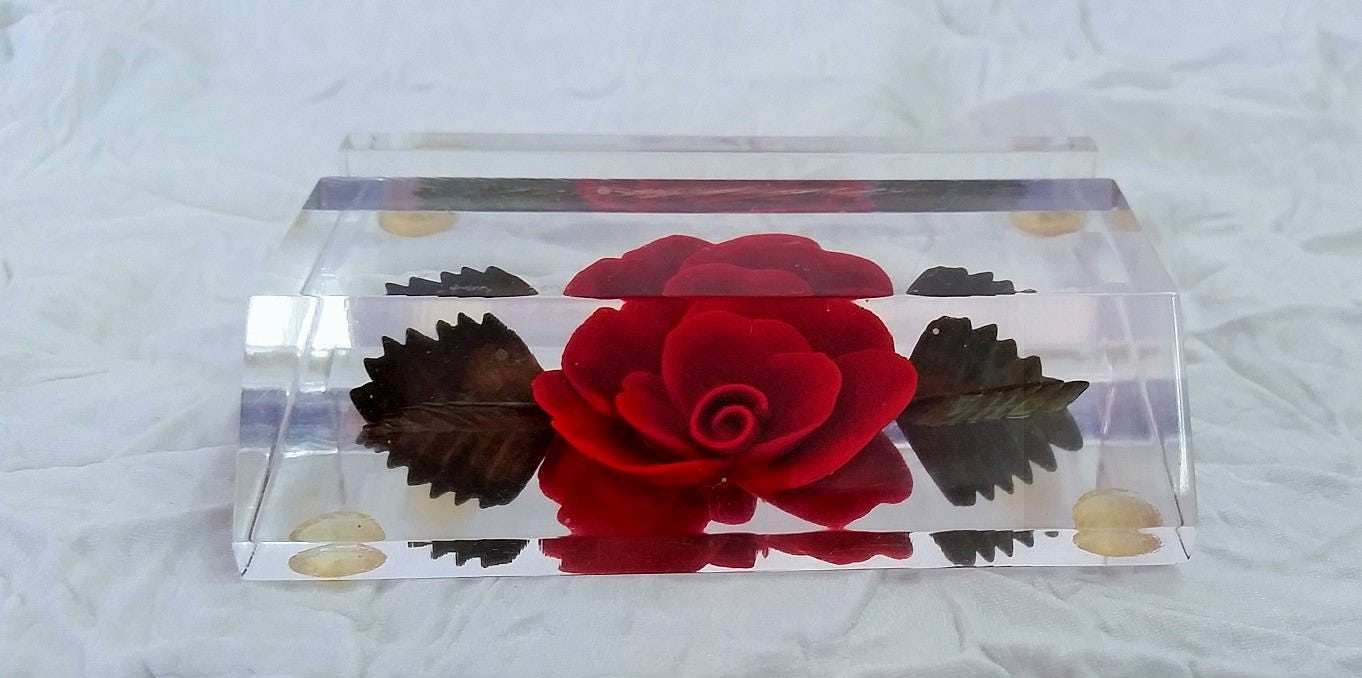 Vintage business card holder, reverse carved clear lucite, red rose ...