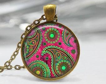 Paisley Art Pendant, Abstract Art Pendant, Green Pink Paisley Art Necklace, Abstract Art Jewelry, Paisley Glass Pendant, Bronze Silver, 1276