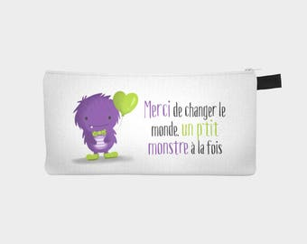 "Treasure chest pencil or makeup case ""P"" little monster """