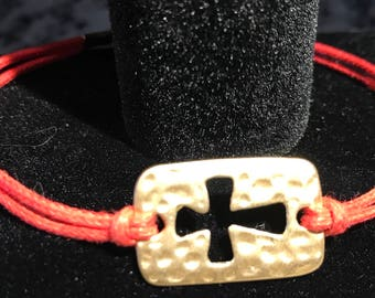 Golden Cross Cord Bracelet with Gold Adjustable Clasp