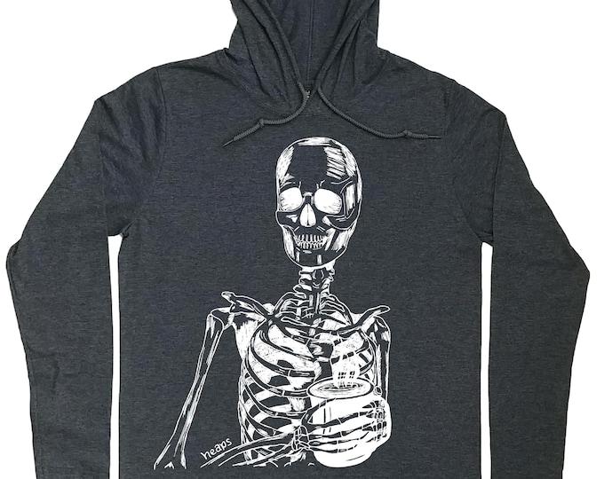Hoodies for Men - Skeleton Hoodie - Coffee Drinker Gift - Coffee T Shirt - Coffee Hoodie - Skeleton Tee - Pull Over Hoodies - Mens Hoodie
