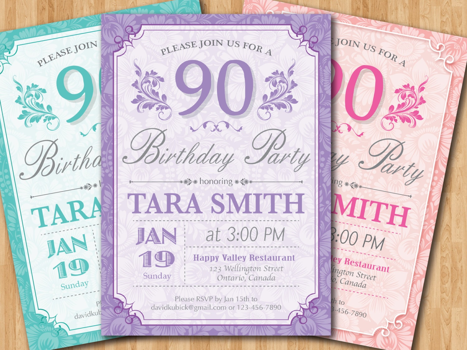 90th Birthday Invitation for Women Floral Purple Pink