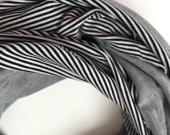 Handmade Infinity scarf 'Between black and white' - loop scarf, stripe - circular scarf