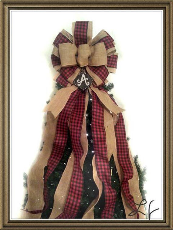 Buffalo Plaid Ribbon Christmas Tree Topper Bow Burlap