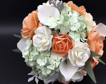 Paper Bridal or Bridesmaid Bouquet - Coral, White, Spring Grean - Hydrangeas, Lilies, Roses - 8 - 10 - 12 inch