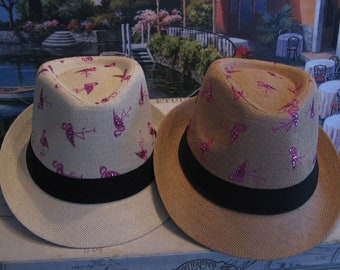 Fun FLAMINGO SWAROVSKI Straw FEDORA-Golf Hat-Island Resort Vacation Wear-Bride Honeymoon Gift-Cruise Hat Must Have!