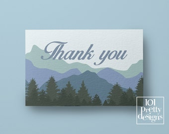 Wood thank you cards printable thank you card mountain thank you design instant download blue thank you card template forest nature