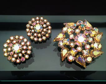 Vintage 1950's Signed Weiss Aurora Borealis Brooch & Clip-On Earring Set