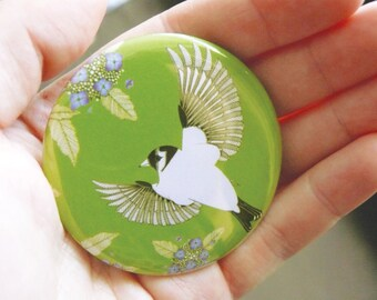 Hydrangea & goldfinch pocket mirror