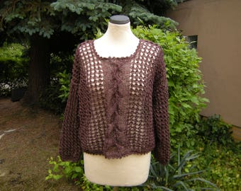 Linen pullover with braid, brown, sweater, Brown, Gr. 38-42
