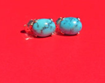 Turquoise Earrings - 3 Pairs Natural Turquoise Post Earrings - Sterling Silver & 8x6mm Oval Turquoise Posts - Turquoise is for Healing