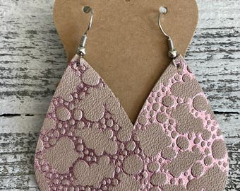 Pink shiny bubbles. Leather teardrop earrings