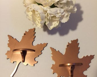 Upcycled Set of Two Wooden Maple Leaf Knick Knack Shelves Painted Copper