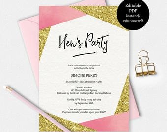 Hens party invitation, gold glitter Invitation, Hens party, Girls night out, printable invitation, Bachelorette party invitation, pink gold