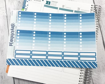 S-372 || Ombre Box Checklists Stickers for Planner - TEAL (20 Removable Matte Stickers)