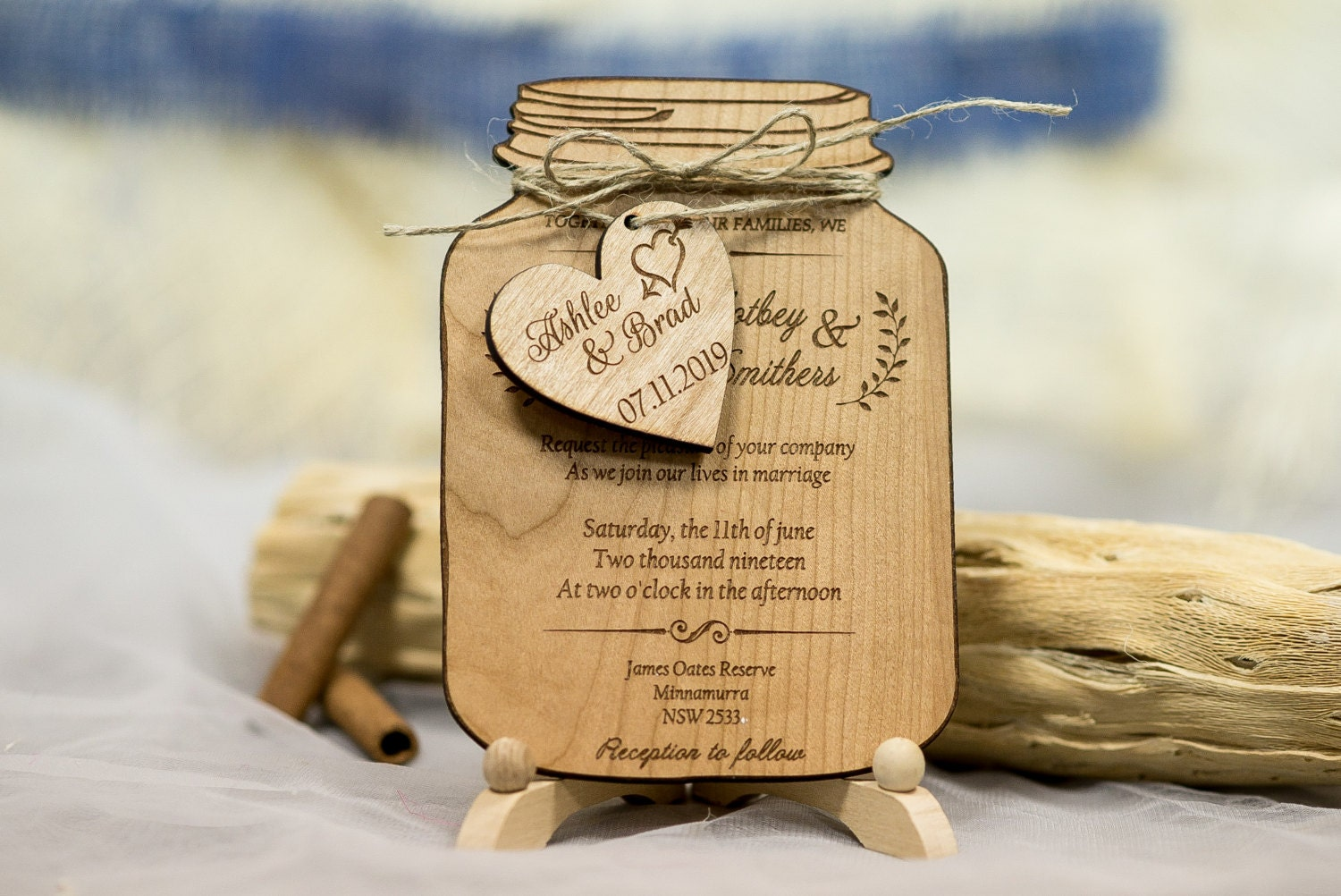 wood wedding invitations real wood wedding invitation jar jar wedding 1480