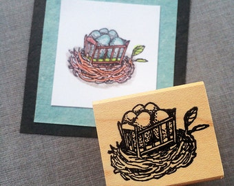 Birds Nest in a Crib Rubber Stamp