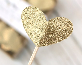 Light Gold Glitter Heart Cupcake Toppers - Set of 12