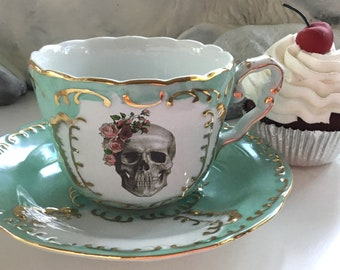 LARGER SIZE! 8-ounce Green & Gold Rose  Skull Teacup and Saucer Set, Available as Tea Set, Goth Teacup, Skull Cup, Skull Mug, Skull Plate