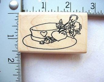 Effie Glitzfingers St. Louis Stamp Designs RARE Roses and Hearts Hat DESTASH Rubberstamp