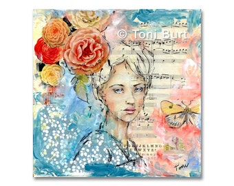 mixed media art print - forgotten memories - by Toni Burt - 8x8 - vintage flowers, blue floral girl portrait, sister daughter gift butterfly