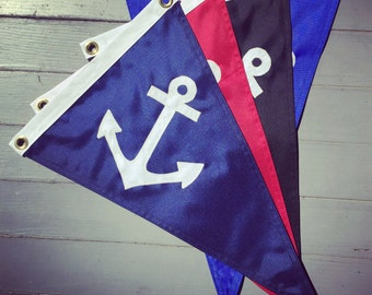 "Anchor Pennant: 12""x18"" Handmade Nautical Boating Flag (Various Colors)"
