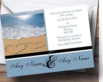 Love Heart Sand Beach Sea Personalised Wedding Invitations