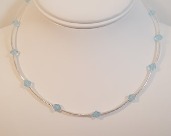 Swarovski® Bicone Crystals, Aquamarine, Silver-Plated Brass Tubed Necklace