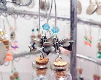 "Earrings ""Mini vial blue flowers"" REF BO41"