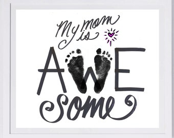 Mother's Day Footprint Art, your child's actual prints. Mother's Day, New Baby