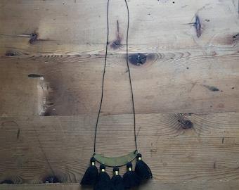 Black Tassel Statement Necklace