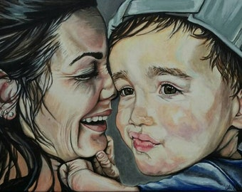 Custom Portrait, Baby Portrait, Mom and Son