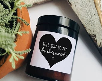 Will You Be My Bridesmaid Scented Jar Candle Natural Soy Wax Candles Vegan Gift Personalized Heart Natural Candles Wedding Invite For Her