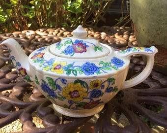 Vintage Sadler England Tea/Coffee Pot-Red Blue Yellow Green Floral Design