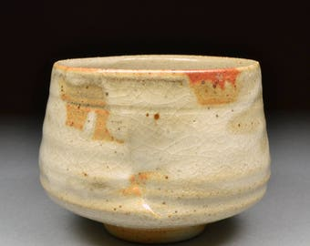 Larger Handmade Stoneware Yunomi Tea Cup glazed with Carbon Trap Shino and My White Shino