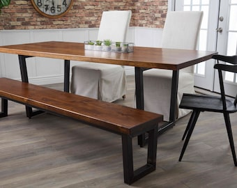 Industrial Steel Trapezoid Dining Table
