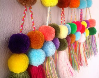 Pastel  colour Mexican pompoms with tassels / Pompoms with braided top in variouscolors / very well made