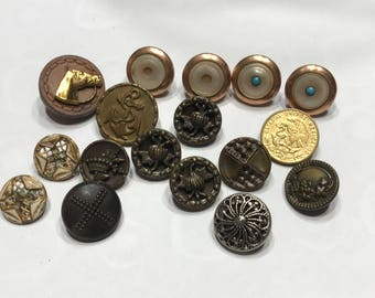 17 piece odd Vintage metal button mix, 14-18 mm (32)