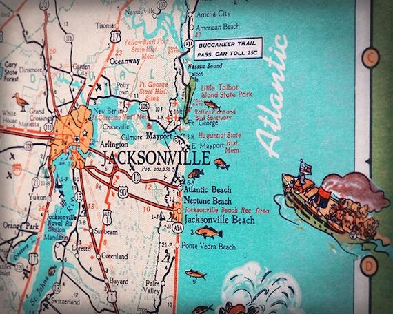 Jacksonville Beach Mayport Atlantic beach retro beach map