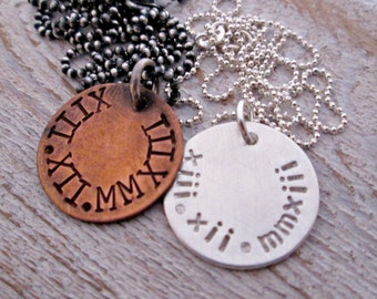 Save the Date Couples Necklaces - Valentine's Day Necklaces - Set of 2 - His and Hers Necklaces - Roman Numerals Necklace - Girlfriend Gift