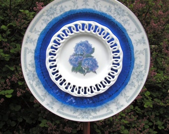Lovely Lace and Blue Avon Saphire Plate Flower Yard Art, Close out Sale