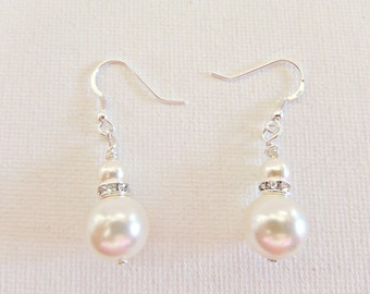 Cream pearl earrings, Cream Swarovski pearl earrings, Bridal pearl earrings, Prom pearl earrings, Bridesmaid pearl earrings, UK seller