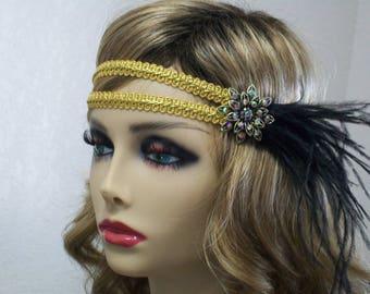 1920s headband, Gatsby headpiece, Flapper headband, 1920s headpiece, Great Gatsby, Feather headband, 1920s hair accessory, Vintage inspired