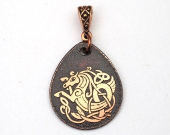 Teardrop Celtic seahorse pendant, flat copper, Celt knot sea horse etched metal, 29mm