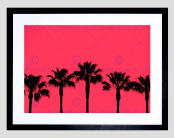 Photo Palm Tree Silhouette Sunset Pink Art Print Poster Picture FEBMP2007B