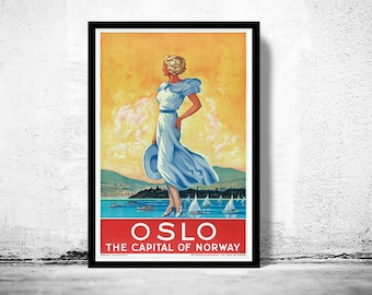 Vintage Poster of  Oslo Norway 1930 Tourism poster travel