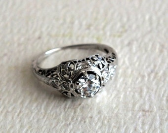 Vintage Diamond 18K White Gold Filigree Ladies Ring by avintageobsession on etsy...FREE USA SHIPPING