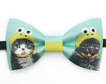 Handmade Cat Kitten with Frog head Bowtie Tie