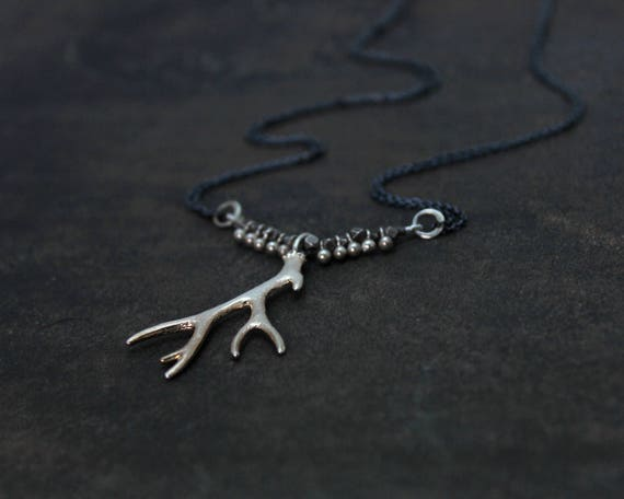 Long Antler Necklace. Unique Mixed Metal Necklace.  Gold and Black or Silver and Black.  NL-2205