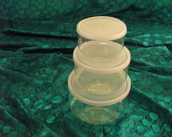 "Princess House Crystal Heritage Bowls, 4"", 5"", and 6"" Crystal Nesting Storage Bowls"